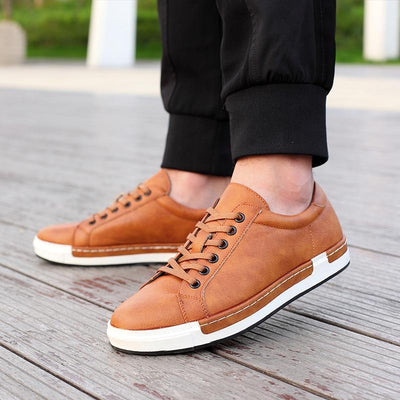 Men's Leather Flats Shoes Lace-Up Shoes Simple Stylish Oxford Shoes