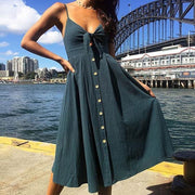 Corachic.com - Bow Backless Polka Dots Print Beach Summer Deep V Neck Buttons Dresses - Dresses