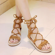 Women Summer Gladiator Sandals Lace-up Peep Toe Flat Tassel Cross Tied Beach Shoes