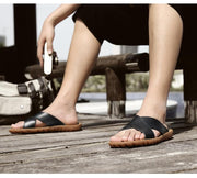 Men Genuine Leather Cross Strap Sandals Beach Water Slides Shoes