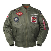 Men Gun Us Navy MA1 Letterman Varsity Baseball Pilot Air Force Flight College Tactical Military Army Jacket