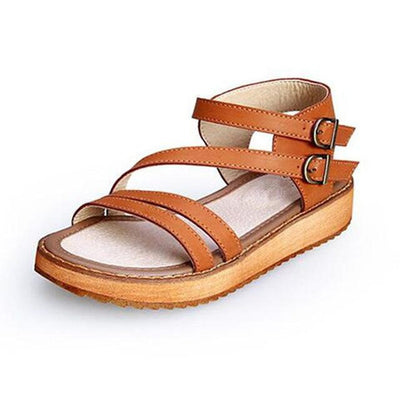 Women Fashion Vintage Style Wedges Flat Sandals Rome Platform Genuine Leather Shoes