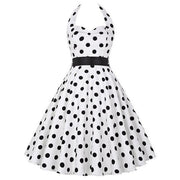 Sexy Halter Party Dress Retro Polka Dot Vintage Dresses Elegant Midi Dress