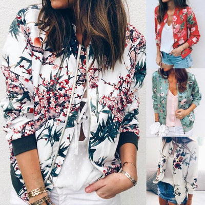 Outerwear & Coats Jackets Womens Ladies Retro Floral Zipper Up Bomber Outwear Casual Coat