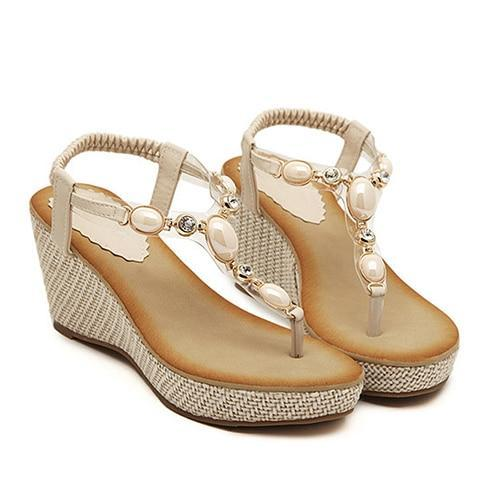 Women Bohemia Diamond Wedges Gladiator Beach Sandal Flip Flops Summer Shoes