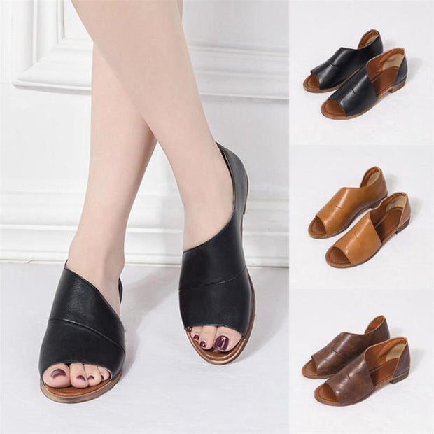 Plus Size Women Solid Color Pointed Toe Low Heel Rome Sandal Shoes