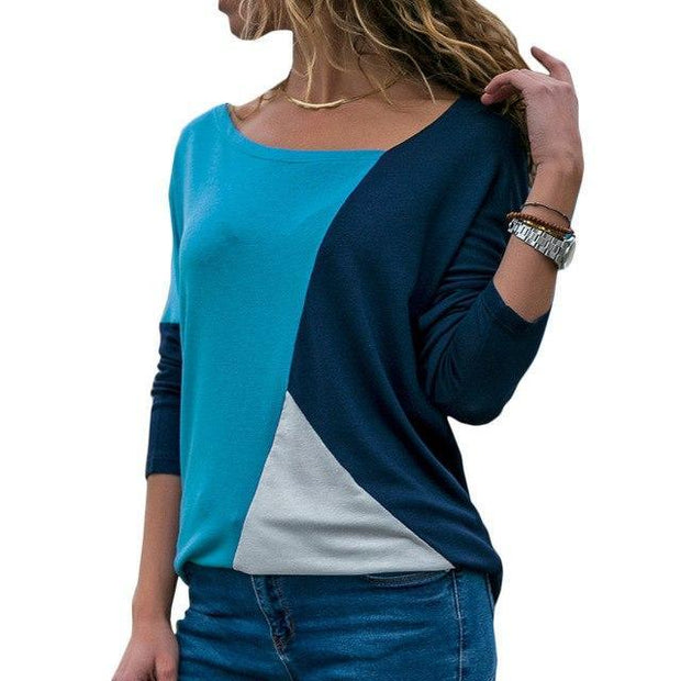 Corachic.com - Women Long Sleeve T-Shirt Patchwork Color Block Shirt Pullover Cotton Casual Tops
