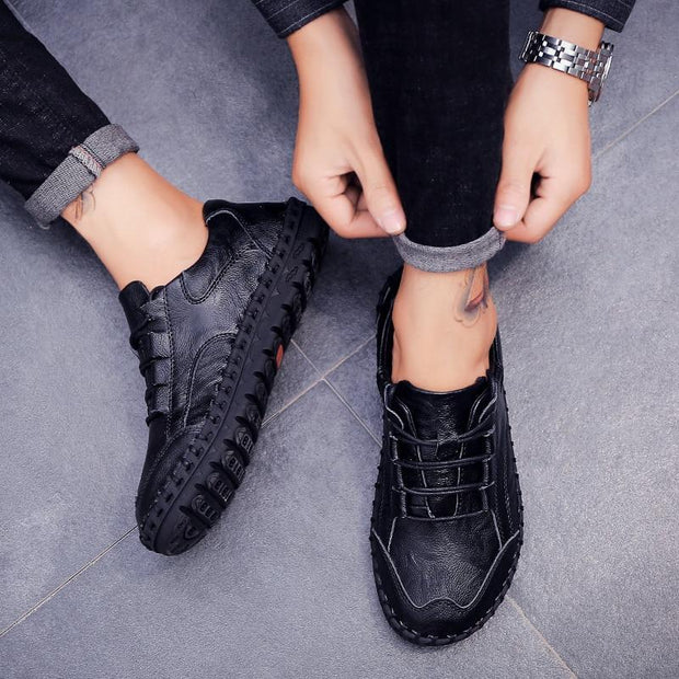 Men's Split Leather Flats Sneakers Loafers Shoes Genuine Leather Moccasin Oxford Shoes