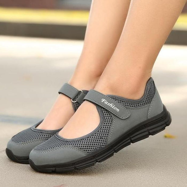 Women's Mesh Fabric Breathable Gray Casual Comfortable Flats Shoes