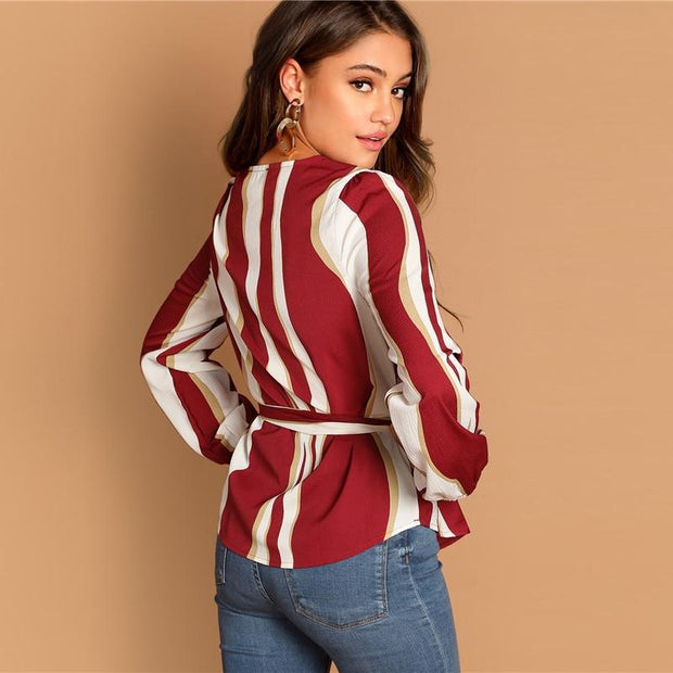 Elegant Tops Women Long Sleeve Blouse Burgundy Striped Print Top Blouses