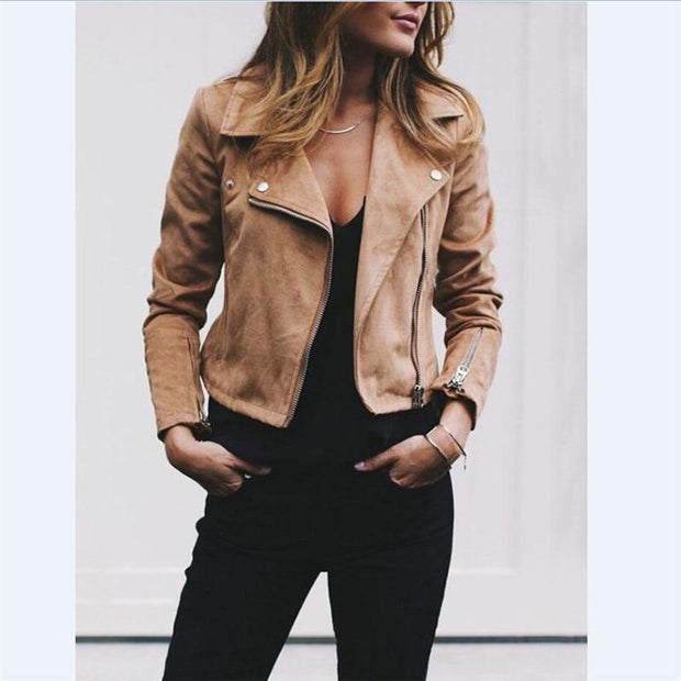 Fashion Women's Zipper Tunic Army Jacket Coats Casual Ladies Leather Jackets Zip Up Biker Coats Flight Tops Clothes