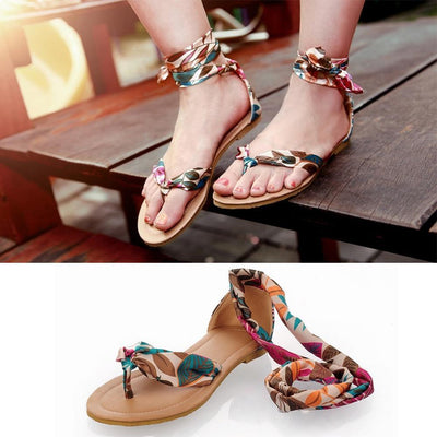 Women Flat flip-flop Sandals Soft Casual Flower Print Ankle Strap Sandals