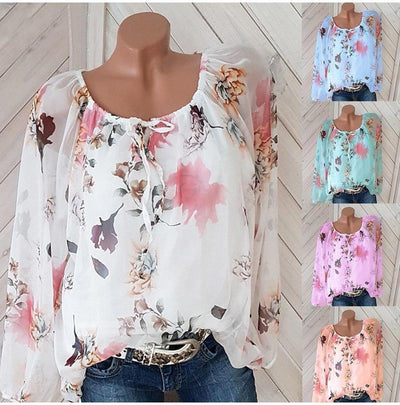 Women Casual Slash Neck Boho Chiffon Blouse Bohemian Long Sleeve Blouse Tops