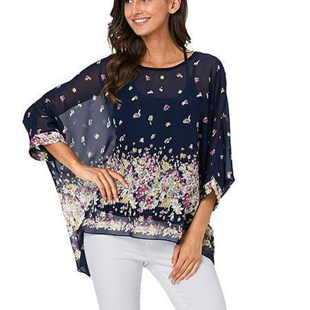 Corachic.com - 6XL Plus Size Women Batwing Sleeve Casual Chiffon Tops Blouses - Blouse & Tops