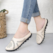 Cow Muscle Ballet Flower Print Women Genuine Leather Flats Loafer Shoes