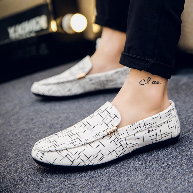 Men Summer Light Canvas Loafers Shoes Breathable Fashion Flat Footwear