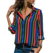 Corachic.com - Women Color Block Striped Shirt Elegant Casual Long Sleeve Blouse