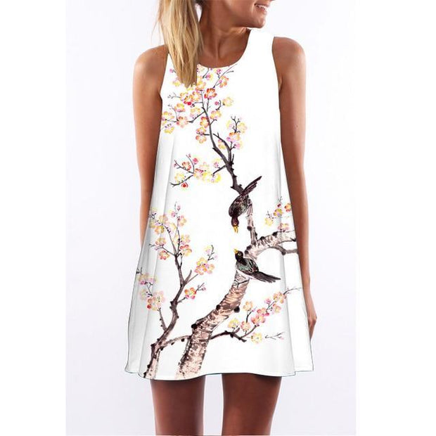 Corachic.com - Floral Print Boho Dresses Casual Beach Sundress Sleeveless Flamingo Chiffon Dress - Dresses