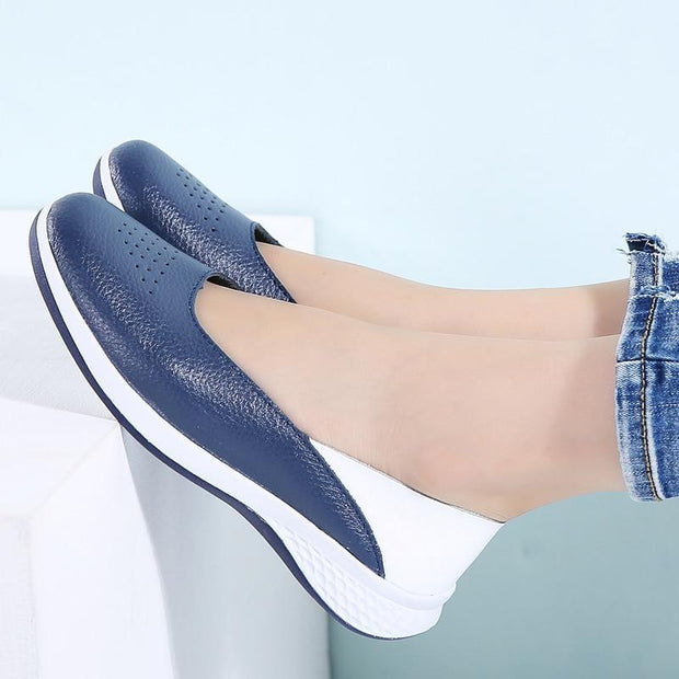 Women Leather Flats Cutout Slip On Loafers Shoes