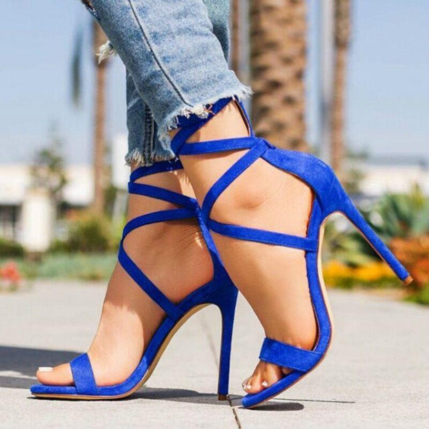 Women's High Heeled Sandals Shoes Zipper Gladiator Party Dress Sandals