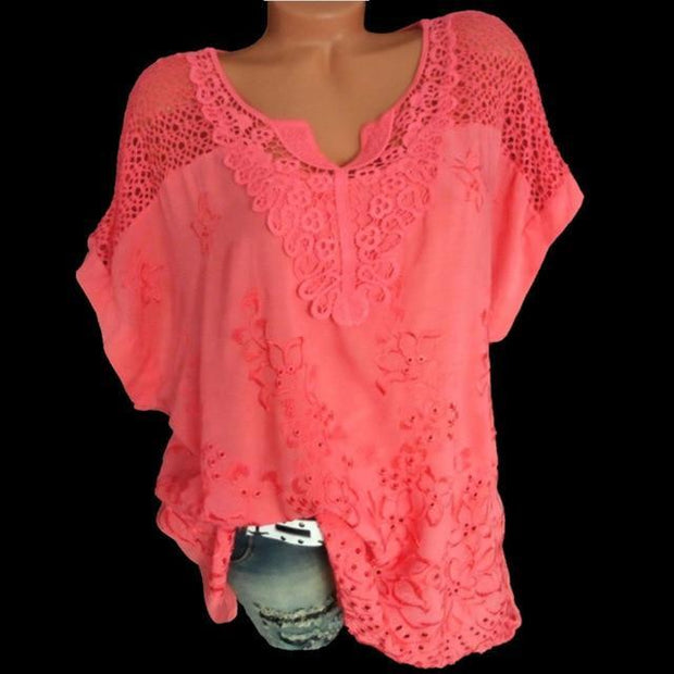 Large Size Women Short-sleeved Blouse V-neck Bat Sleeve Lace Blouse Tops