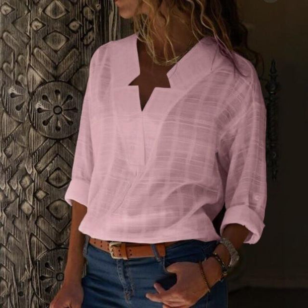 Large size Women's Blouse Long-sleeved Shirt Solid Color V-neck Casual Blouses
