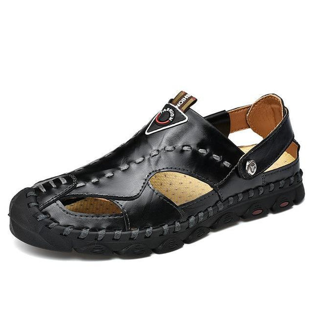 Men's Genuine Leather Sandals Shoes Lightweight Comfort Beach Sandals
