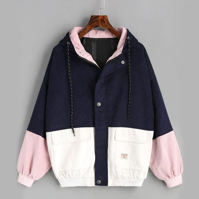 Women matching jacket coat hooded corduroy baseball clothing casual jacket