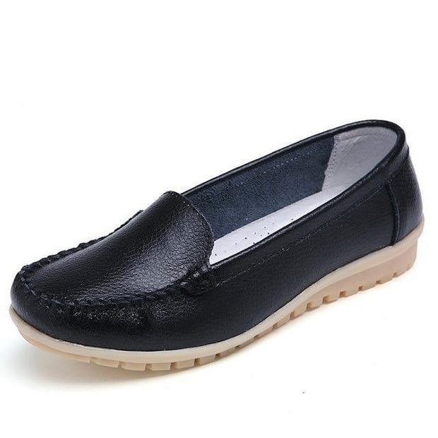 Corachic.com - Women Genuine Leather Cutout Loafers Slip On Ballet Flats Shoes