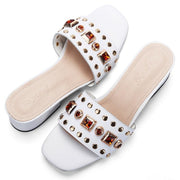 Genuine Leather Cow Suede Crystals Women Sandals Shoes Middle Heels Gladiator Beach Slippers