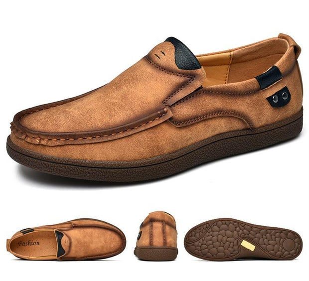 Split Leather Men's Loafers Shoes Breathable Driving Oxfords Shoes Flats Moccasins Shoes