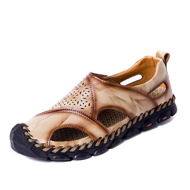 Men Breathable Genuine Leather Sandals Plus Size Casual Beach Flats Shoes