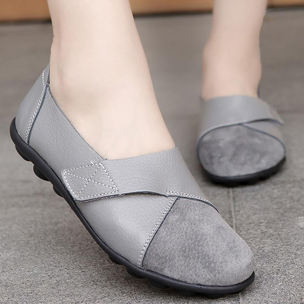 Women Soft Genuine Leather Large Size Patchwork Suede Boat Flats Shoes