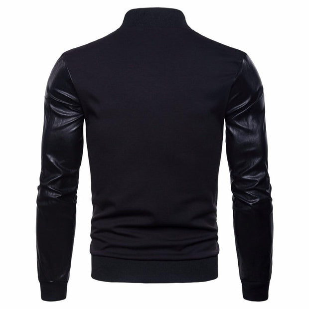 Men Autumn streetwear jackets men pilot PU leather Stitching hip hop windbreaker zipper coat casual jacket