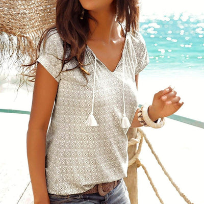 Women's Fashion Bohemian Print Top Beach Shirt Holiday Casual T-shirt