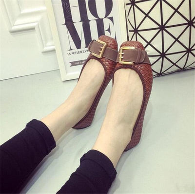 Women's Loafers Flats Buckle Knitted Flat Heel Soft Bottom Boat Shoes