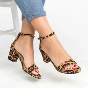 Women's Ankle Strap Heels Leopard Print Sandals Open Toe Chunky High Heels Sandals Pumps