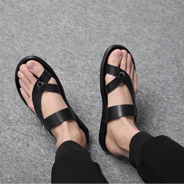 Men's PU Leather Sandals Flat Beach Fashion Non-slip Sandals