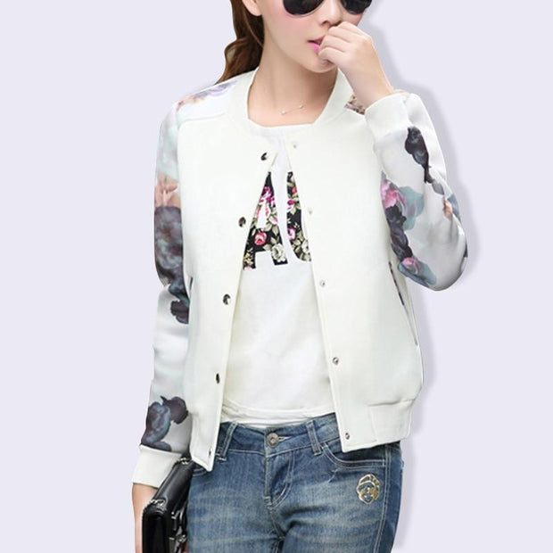 Women Jacket Flower Print Tops Girl Plus Size Casual Women Clothing Button Thin Bomber Long Sleeves Coat Jackets