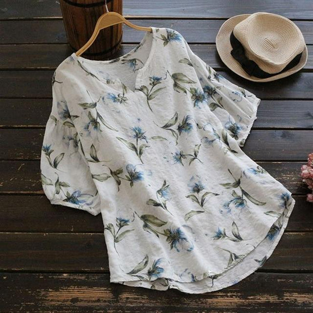 Plus Size Women O Neck Vintage Shirt Floral Printed Baggy Loose Blouse