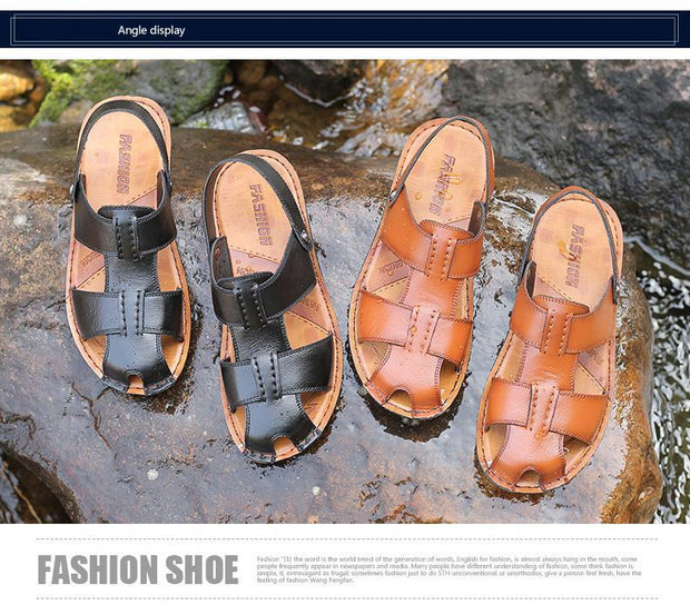 Big Size Men PU Leather Beach Sandal Shoes Non-Slip Large Slippers