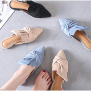 Women Flock Bowtie Mules Low Heels Sandal Shoes Pointed Toe Elegant Sandals