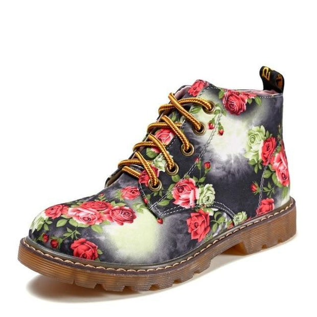 Autumn Women Ankle Boots Low Heels Flower Flats Casual Shoes Woman Oxfords Lace-Up Motorcycle Booties
