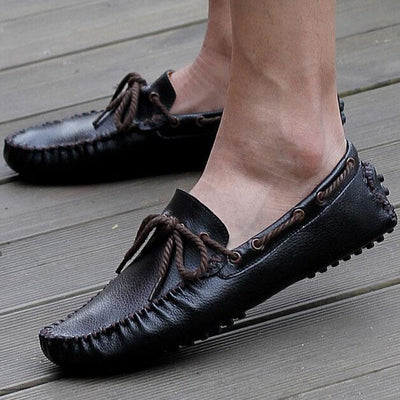 Men Genuine Leather Loafers Soft Casual Cowhide Driving Shoes