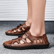 Men Breathable Genuine Leather Sandals Flats Fashion Casual Beach Shoes