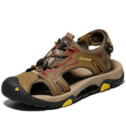 Men Genuine Leather Sandals Fashion Flat Beach Sandals Sneakers
