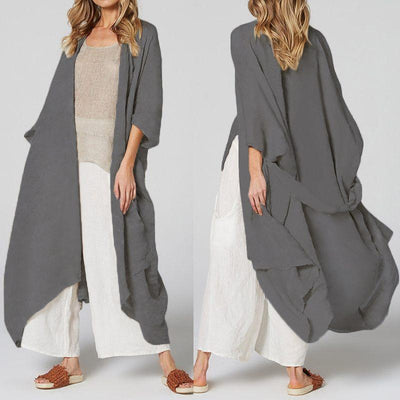 Women Summer Vintage Beach Cover Up Solid Belted Casual Loose Blouse Plus Size Cardigan Kimono
