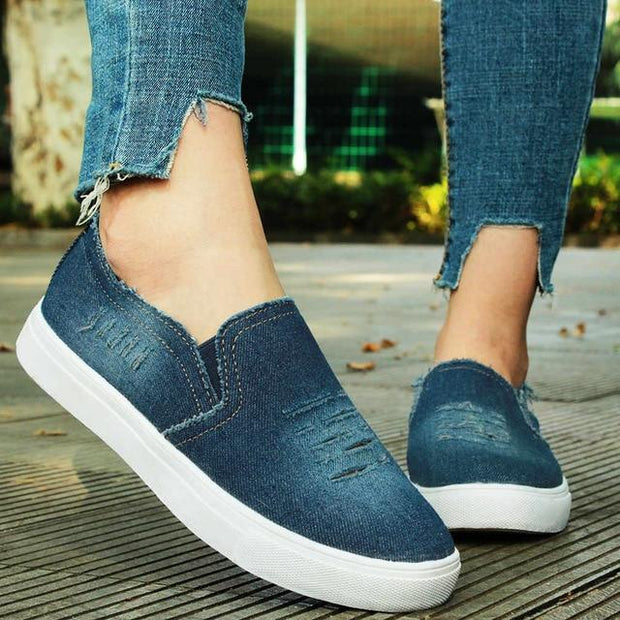Women Denim Canvas Casual Platform Breathable Footwear Classic Loafers A Pedal Lazy Sneakers Shoes