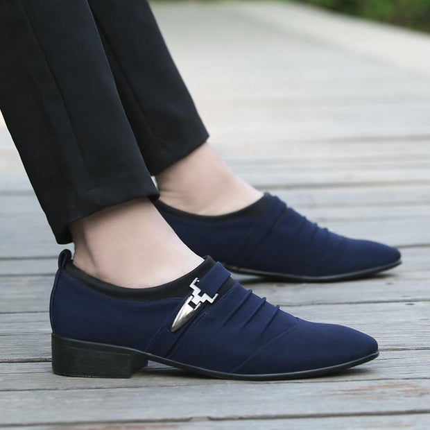 Men Fashion Pointed Toe Canvas Slip On Formal Oxfords Shoes