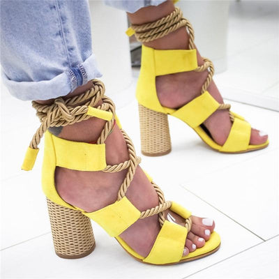 Women's High Heel Sandals Pointed Fish Mouth Hemp Lace Up Sandal Shoes